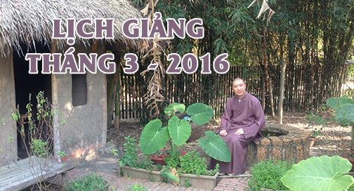 Lịch thuyết giảng tháng 3 – 2016
