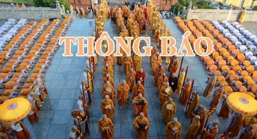 """Thông báo – V/v Đại Giới đàn """"Đồng Huy"""" PL. 2560"""